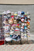 Show-window of hats — Foto Stock