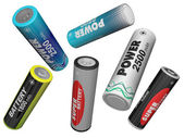 Scatter in different directions AA batteries — Stock Photo