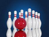 Bowling pinnen en bal — Stockfoto
