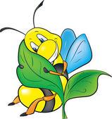 Happy cartoon bee — Stock Vector