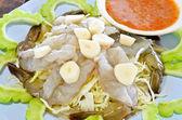 Raw shrimp with fish sauce dip, Seafood — Stock Photo