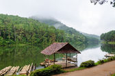 Pang Ung, Beautiful forest lake in the morning — Stock Photo