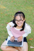Lovely girl with a laptop on the grass — Stock Photo