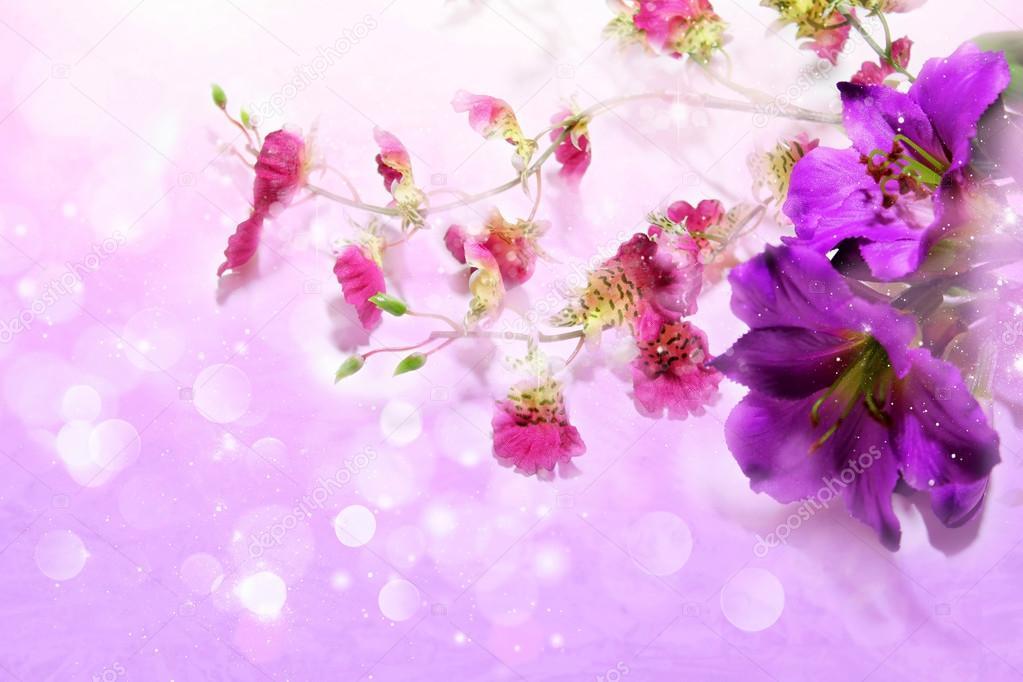 Flores Lilas Con Rosas Sobre Fondo: Lindas Flores De Color Púrpura Sobre Un Fondo Color Lila