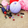 Supplies for knitting and sewing - Stock Photo