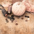 Stock Photo: Supplies for knitting and sewing in vintage style