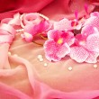 Pink orchids, necklace, beads on a soft pink background — Stock Photo #22282575