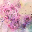 Twig of lilac flowers and watercolor splashes - Stock Photo