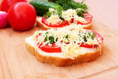 Tomato and cheese sandwich close up — Stock Photo