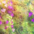 Grunge artwork with beautiful flowers and colorful watercolor smudges — Stock Photo