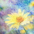 Artwork with cute yellow flower and colorful watercolor strokes — Stock Photo #30626225