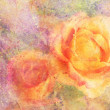 Artwork with yellow rose and watercolor splatter — Stock Photo