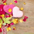 Stock Photo: Knitted valentine's hearts