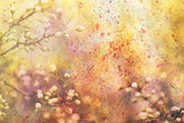 Artwork with blooming branches and watercolor splatter — Stock Photo