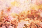 Artwork with blooming apricot tree branches and watercolor strokes — Stock Photo