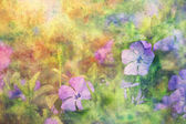 Beautiful artwork with lilac flowers and watercolor strokes — Stock Photo