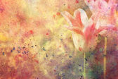 Artwork with tulips and watercolor splatter — Stock Photo