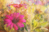 Grunge artwork with purple flower and colorful watercolor strokes — Stock Photo