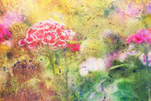 Garden red flowers and abstract colorful watercolor smudges — Stock Photo