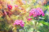 Purple flowers and abstract watercolor splatter — Stock Photo