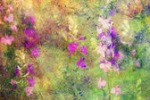 Artwork with flowers and colorful watercolor strokes — Stock Photo