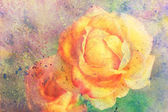 Artwork with yellow rose and watercolor strokes — Stock Photo