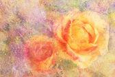 Konstverk med gul ros och akvarell splatter — Stockfoto