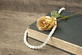 Vintage old book and withered rose — Stock Photo