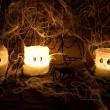 Stock Photo: Home made halloween scary candles