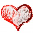 Red and black watercolor valentine's heart — Stock fotografie