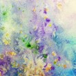 Blue watercolor canvas with colorful splatter — Stock Photo