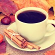 Cup of coffee on autumn background close up — Stockfoto #33871149