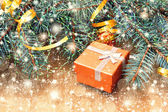 Christmas tree branches and gift box — Stock Photo