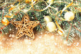 Golden star and other christmas decorations — Foto Stock