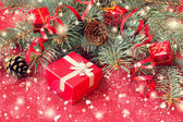 红色圣诞礼品盒 — 图库照片