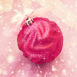 Beautiful bright pink christmas ball  — Stock Photo