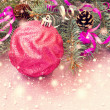 Bright pink ball and other christmas stuff — Stock Photo