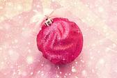 Beautiful bright pink christmas ball — Stock Photo