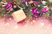 Pink gift box and other christmas stuff — Stock Photo