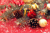 Decorated christmas tree twigs — Stock Photo