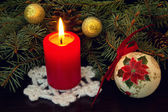Red candle and old vintage christmas ball close up — Stock Photo