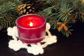 Deep red christmas candle — Stockfoto