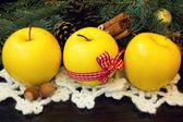 Yellow christmas apples — Stock Photo