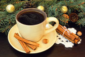 Cup of coffee and christmas decorations — Stock Photo