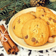 Baked cookies with chocolate. christmas snack — Stock Photo