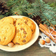 Yummy cookies with chocolate. christmas snack — Stock Photo