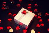 Cute silver gift box — Stock Photo