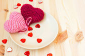Festive table setting for valentine's day — Stock Photo