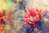 Grunge artwork with flower and watercolor splashes — Stock Photo