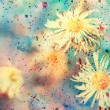 Small white chamomiles and colorful watercolor splatter — Stock Photo